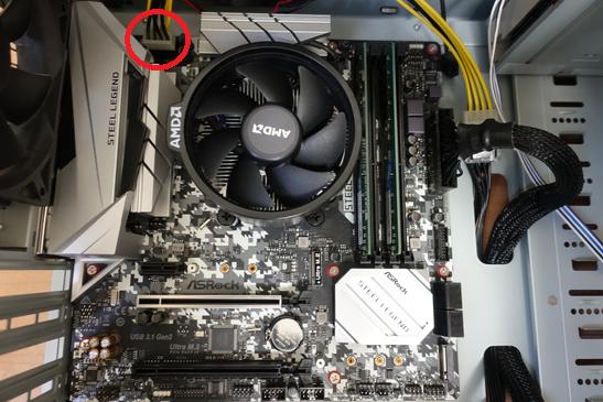 マザーボードにCPUコネクタを接続する箇所についての画像