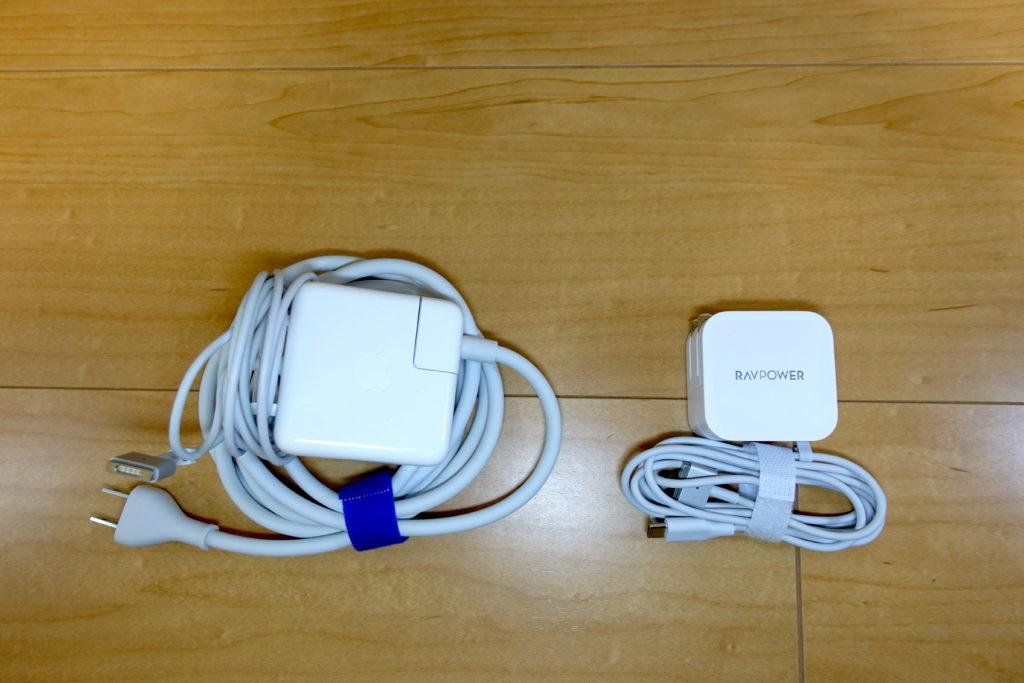 Apple純正充電ケーブルとRAVPower RP-PC112のサイズ比較画像